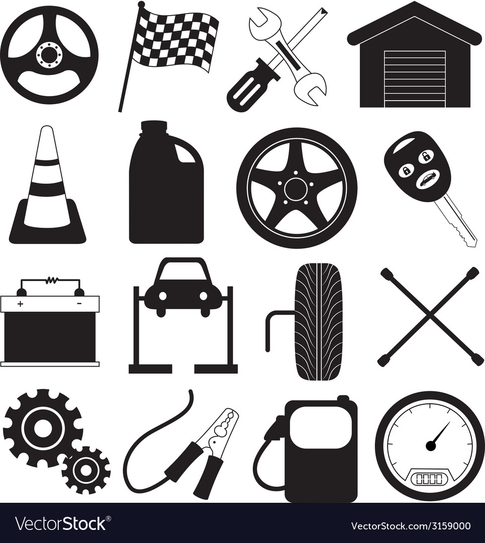 Car service and tool icons vector | Price: 1 Credit (USD $1)
