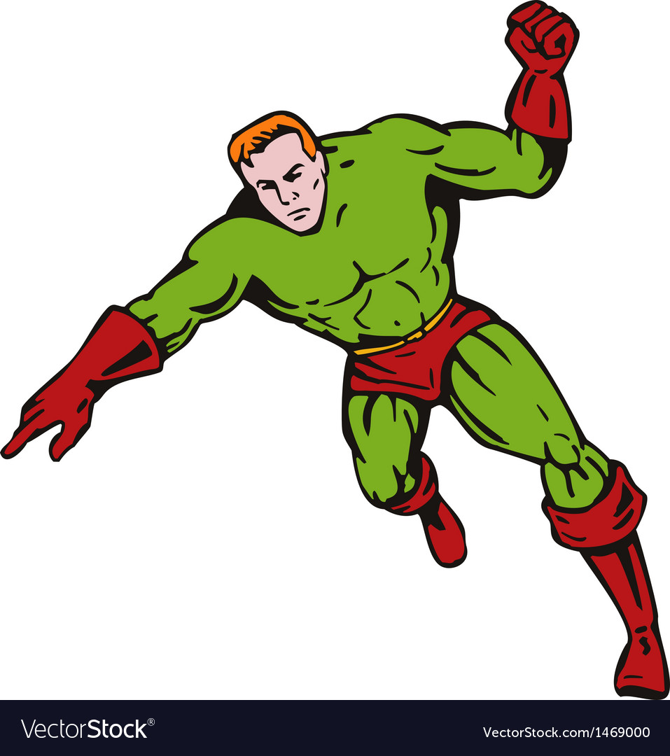 Cartoon super hero running punching vector | Price: 1 Credit (USD $1)