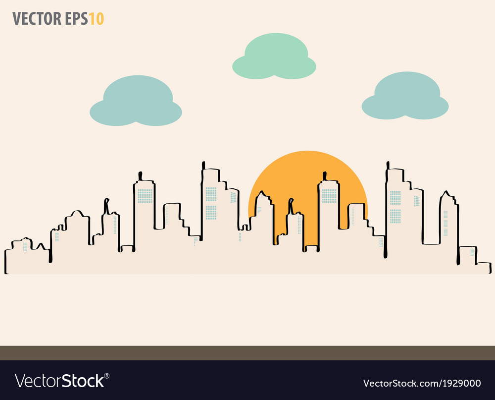 Cityscape sketch drawing for your design vector | Price: 1 Credit (USD $1)