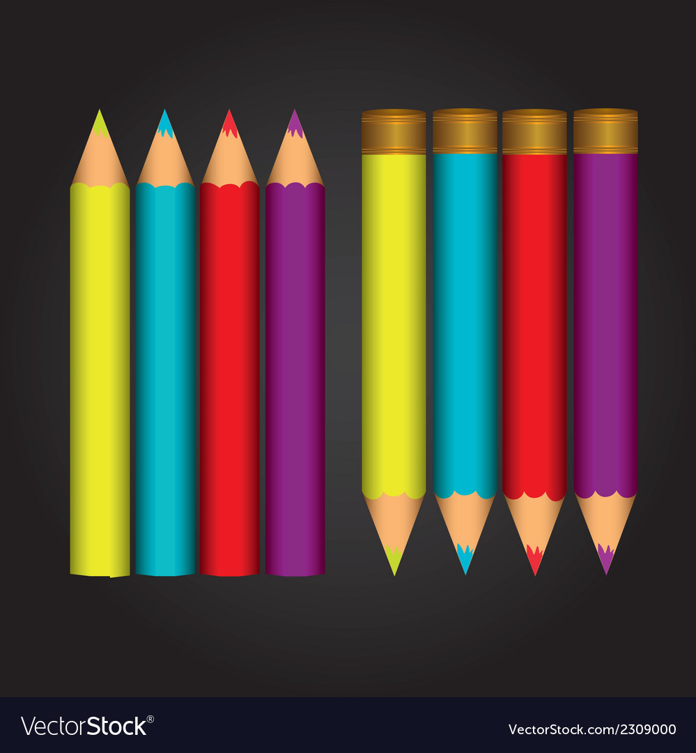 Colorfull colored pencils isolated over black back vector | Price: 1 Credit (USD $1)