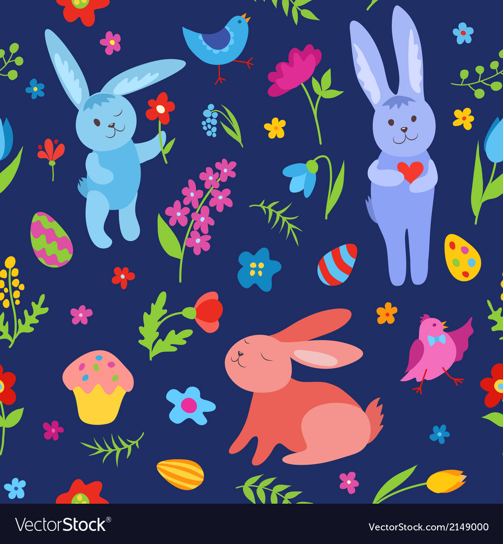 Cute easter rabbits seamless pattern blue vector | Price: 1 Credit (USD $1)
