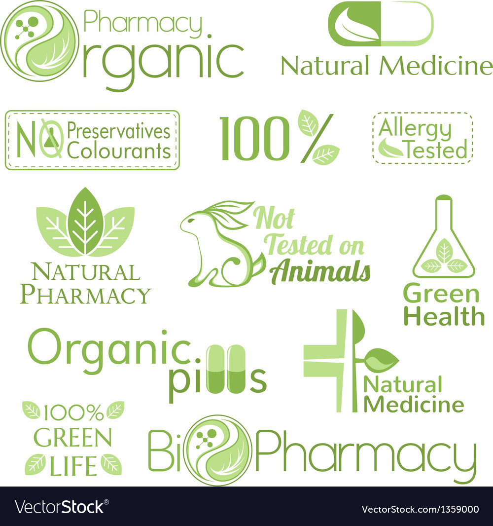 Set of organic medicine symbols vector | Price: 1 Credit (USD $1)