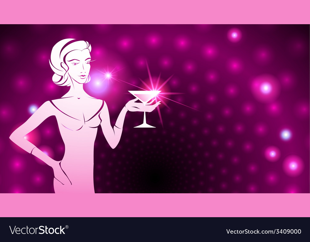 Woman holding a cocktail a sparkling background vector | Price: 1 Credit (USD $1)