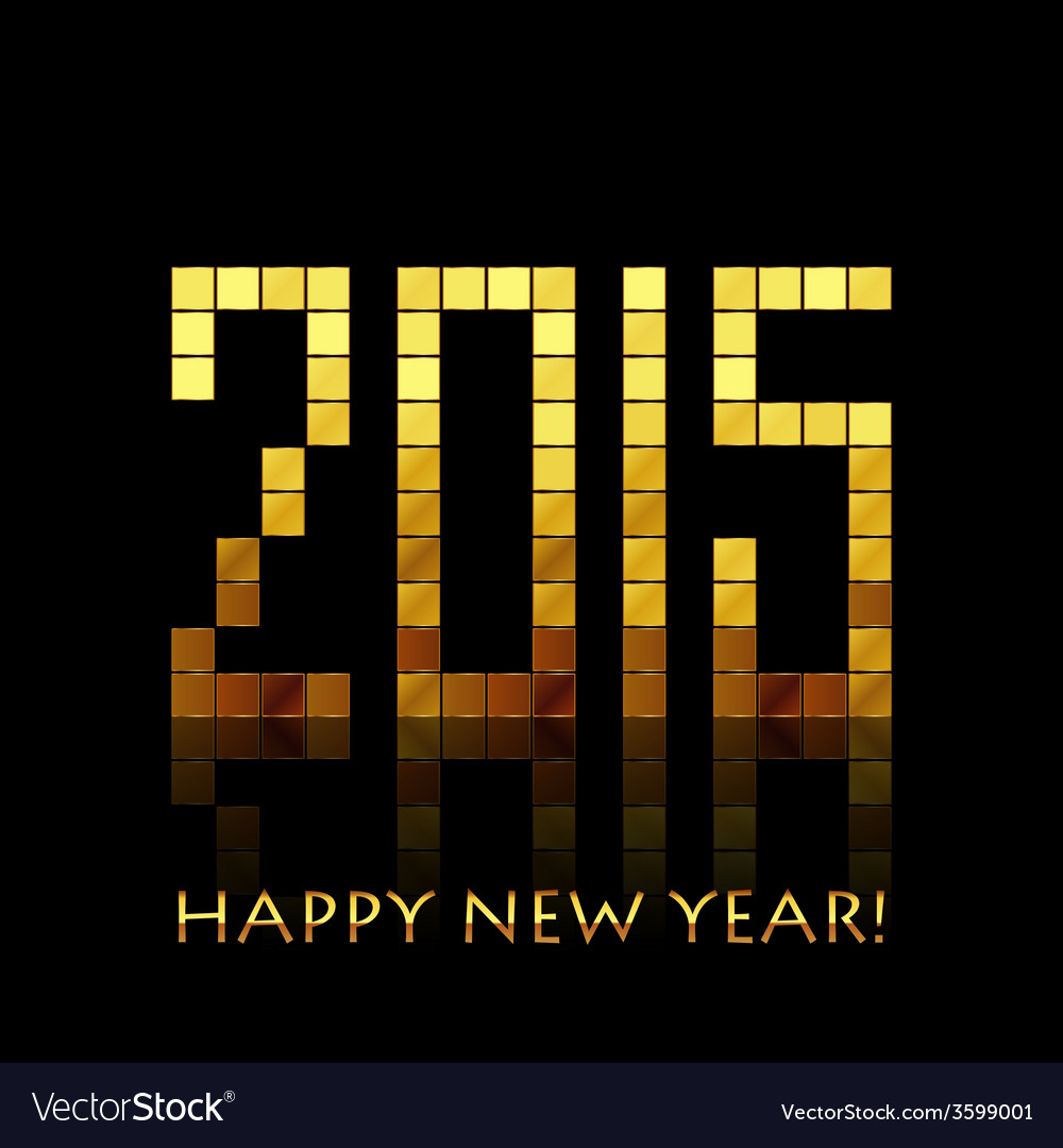 - happy new year 2015 - with golden numbers vector | Price: 1 Credit (USD $1)