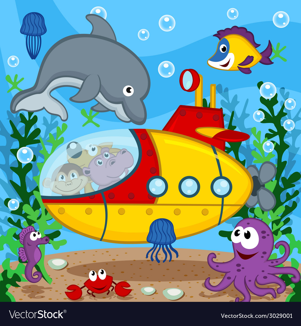 Animals on submarine vector | Price: 1 Credit (USD $1)