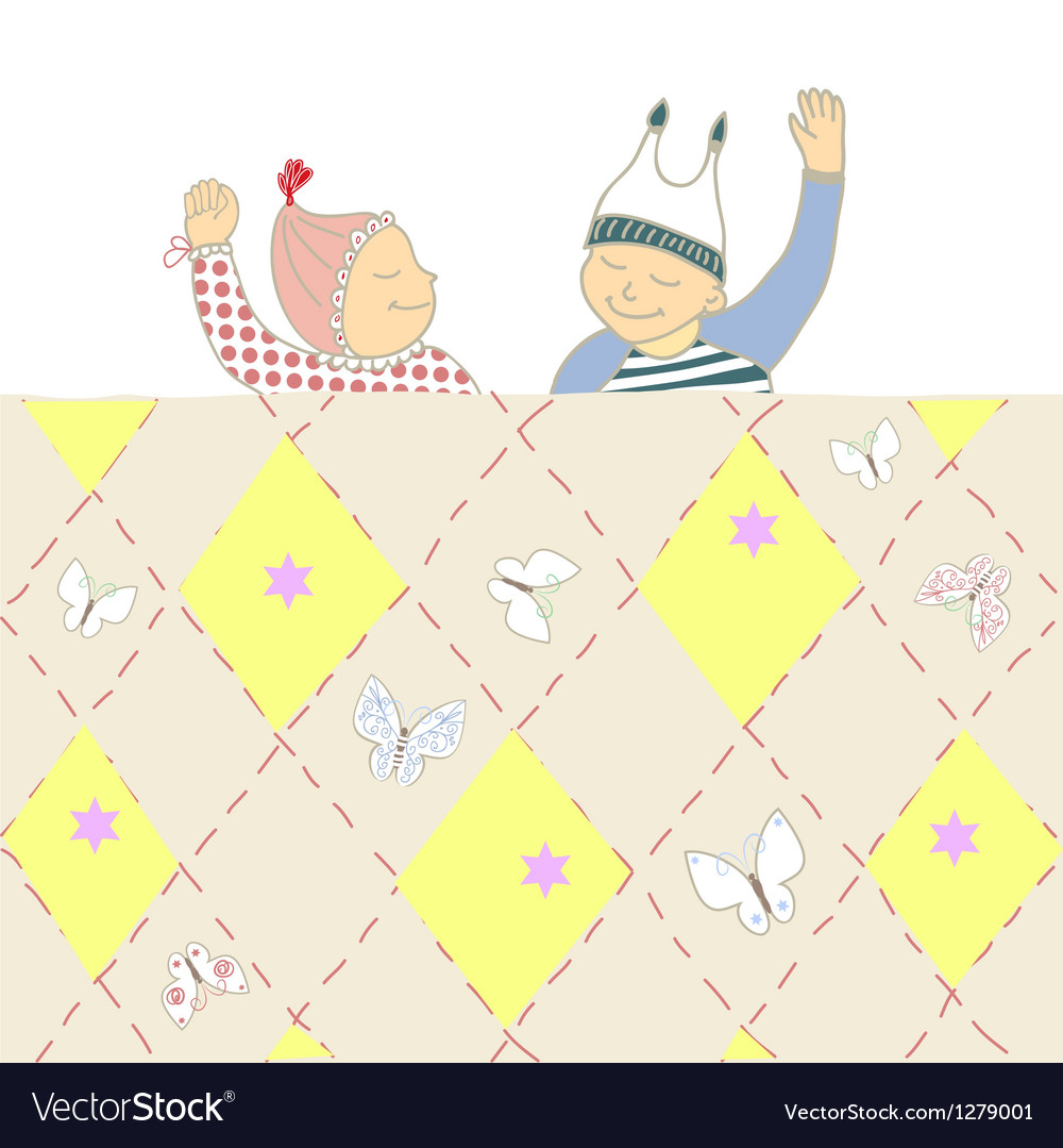 Baby shower card with twins little boy and girl vector   Price: 1 Credit (USD $1)
