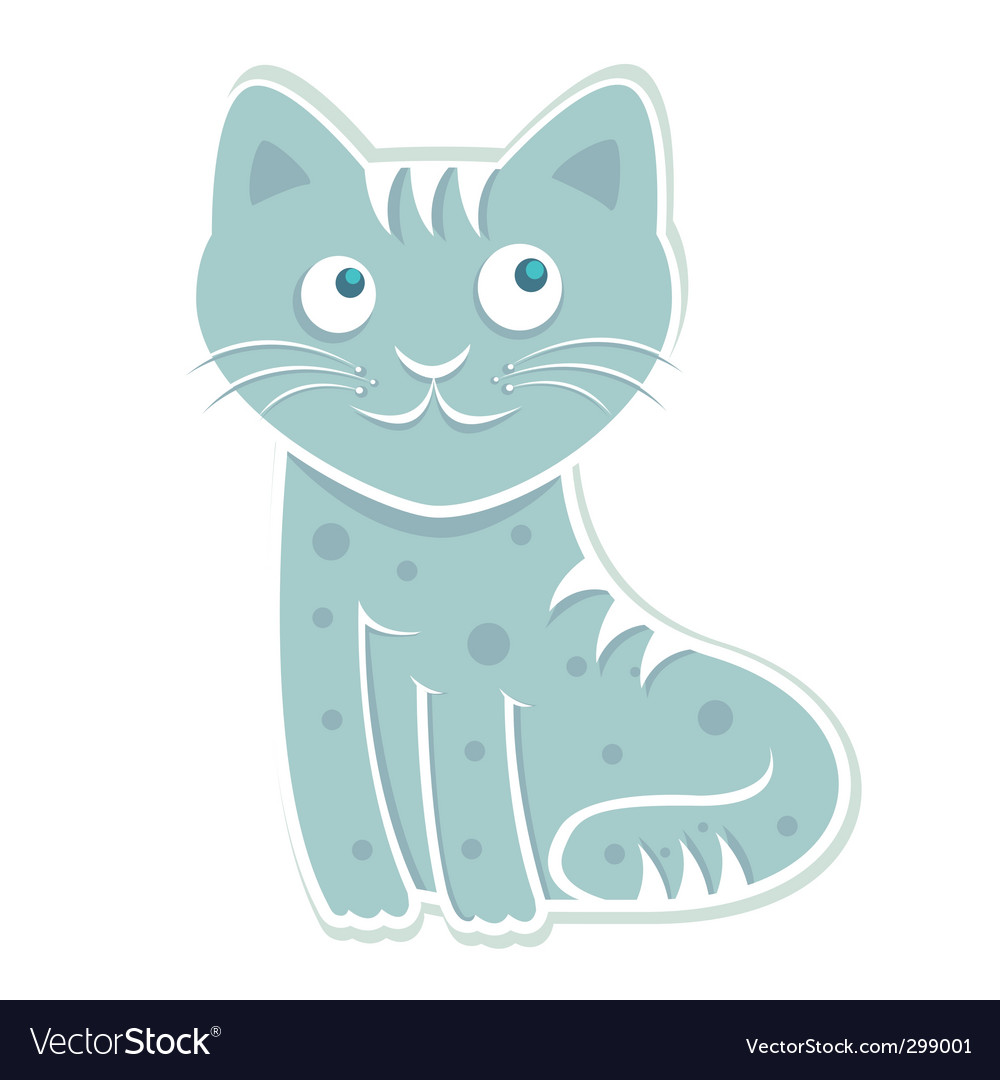 Blue cat vector | Price: 1 Credit (USD $1)
