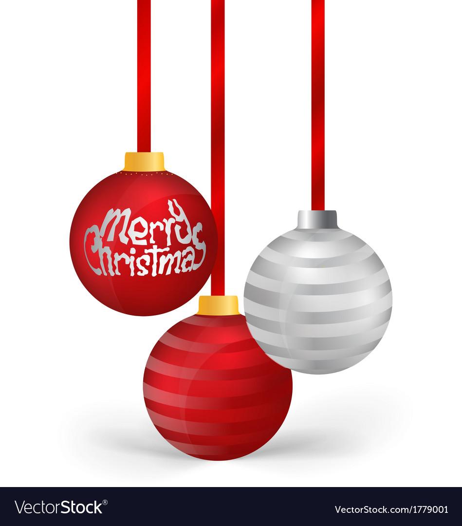 Christmas balls with ribbon vector | Price: 1 Credit (USD $1)