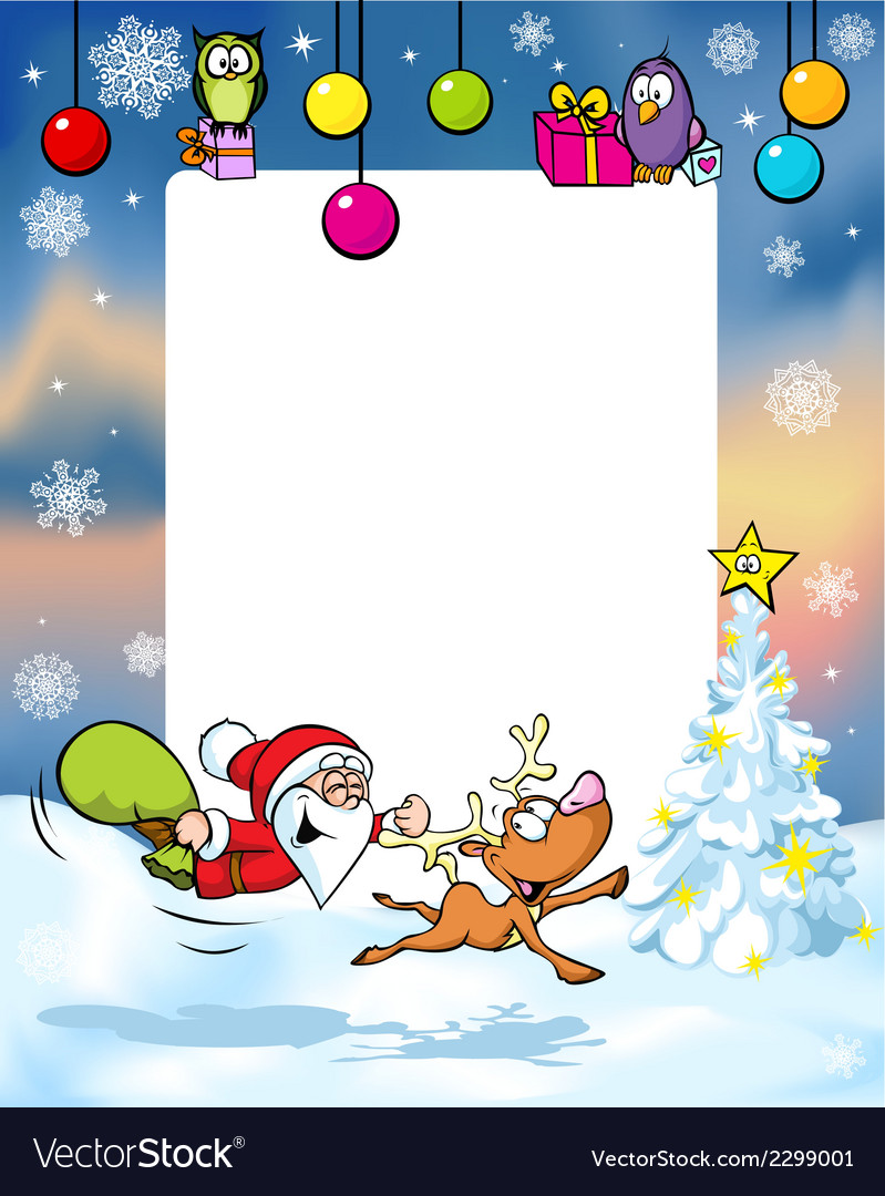 Christmas frame with funny santa claus and vector | Price: 1 Credit (USD $1)