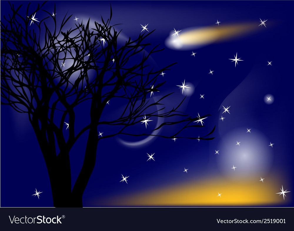 Comet and tree vector | Price: 3 Credit (USD $3)