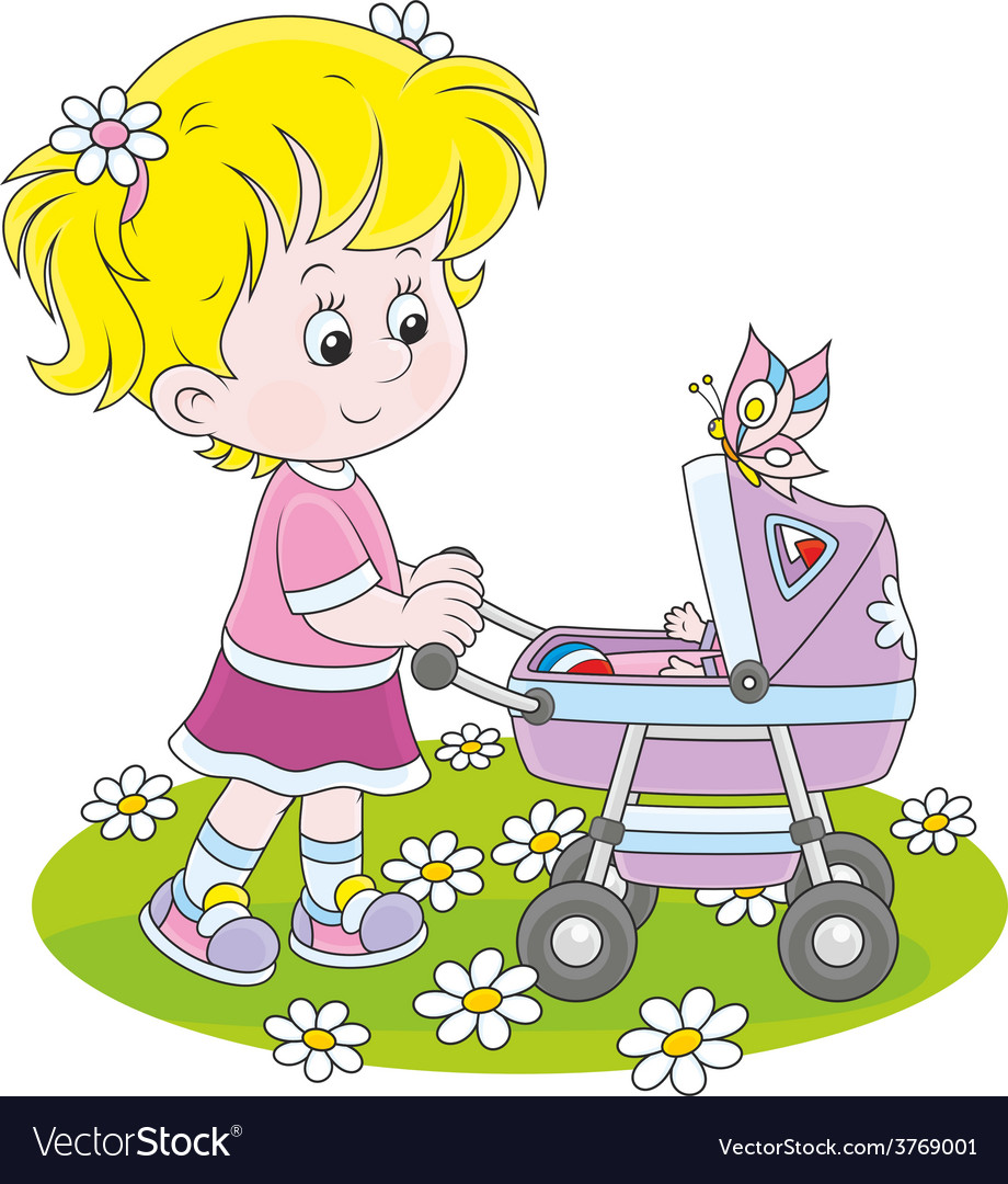 Girl with a toy baby buggy vector | Price: 1 Credit (USD $1)