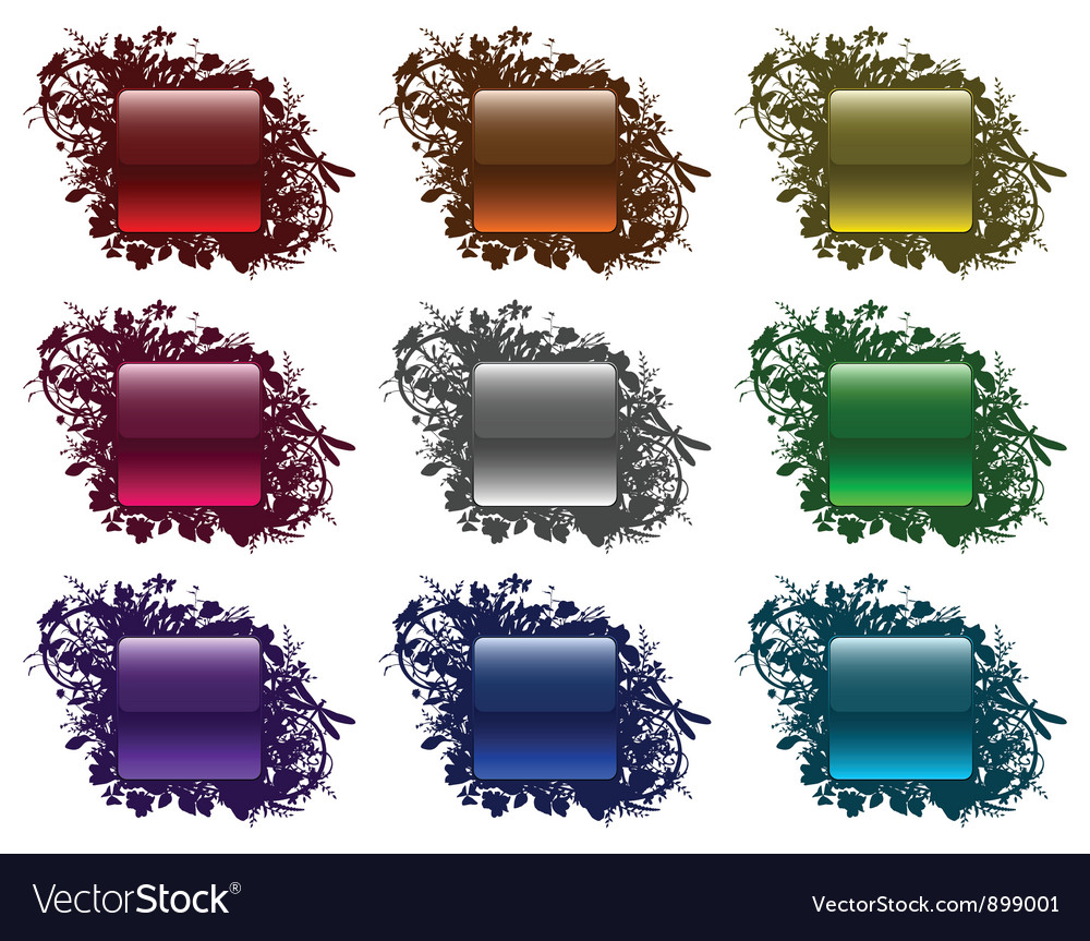 Glassy buttons in floral frames vector | Price: 1 Credit (USD $1)