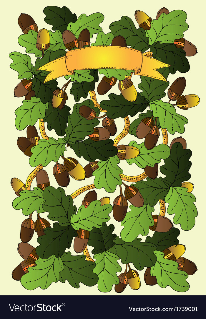 Graphic background with oak leaves and acorns vector | Price: 1 Credit (USD $1)