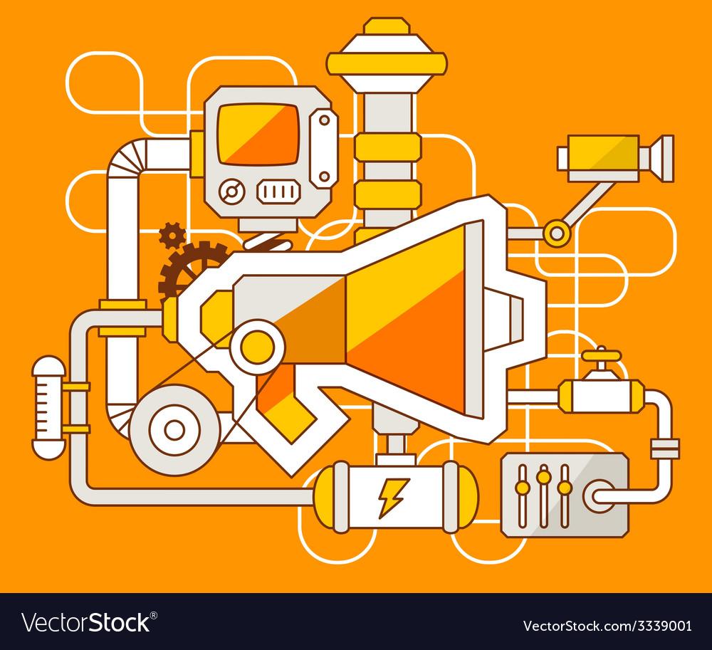 Industrial of the mechanism of megaphone vector | Price: 3 Credit (USD $3)
