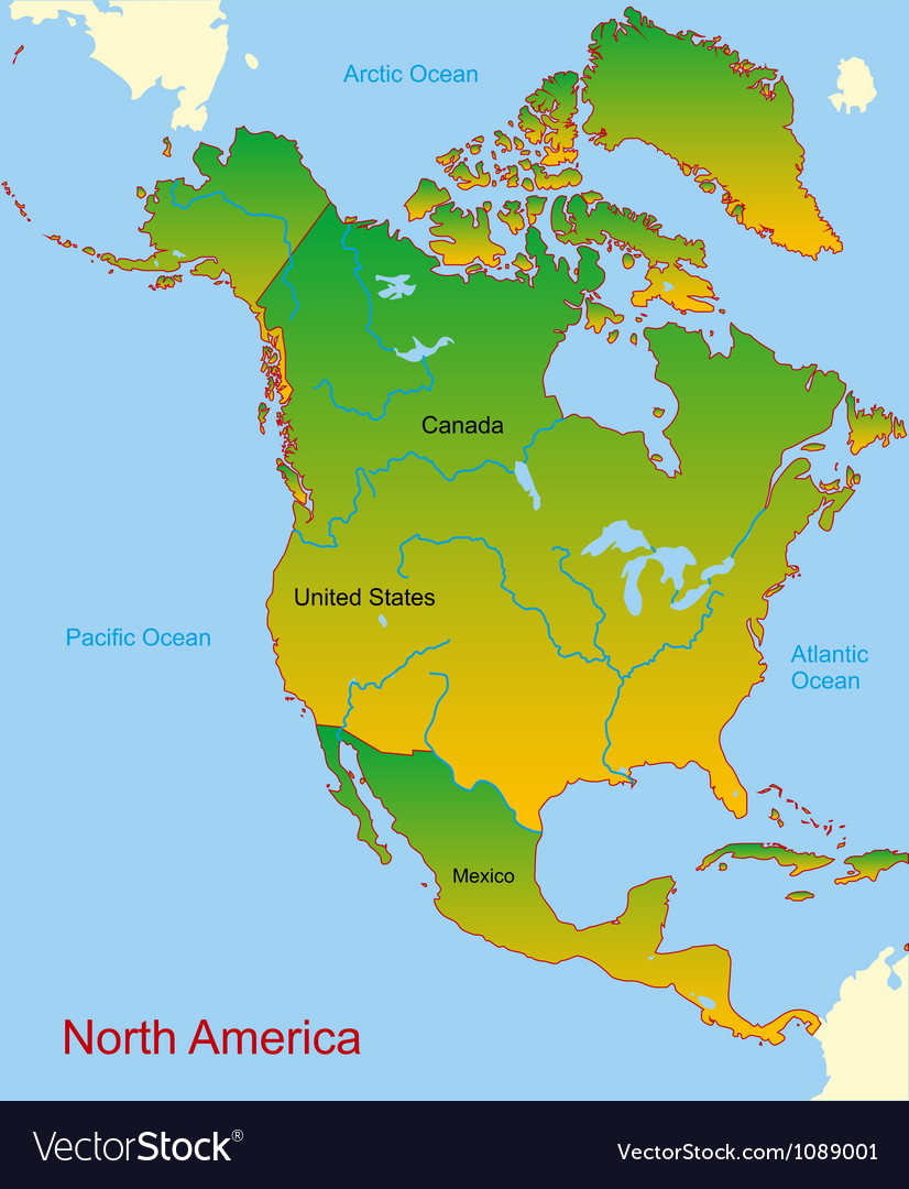 Map of north america continent vector | Price: 1 Credit (USD $1)