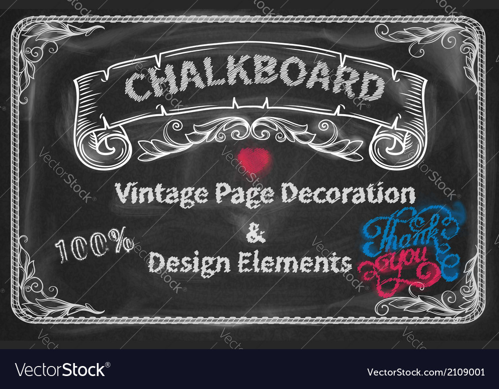 Page decoration and design elements chalkboard vector | Price: 1 Credit (USD $1)