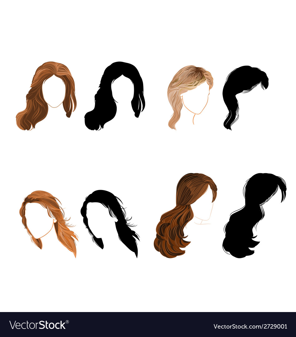 Set long hair natural and silhouette vector | Price: 1 Credit (USD $1)