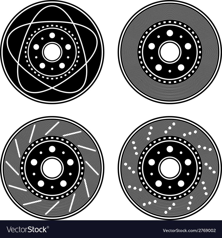 Brake disc black symbols vector | Price: 1 Credit (USD $1)