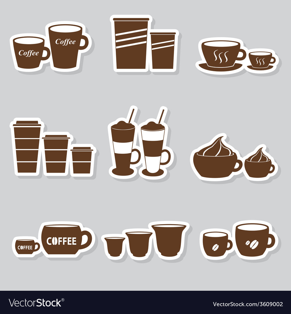 Coffee cups and mugs sizes variations stickers set vector | Price: 1 Credit (USD $1)