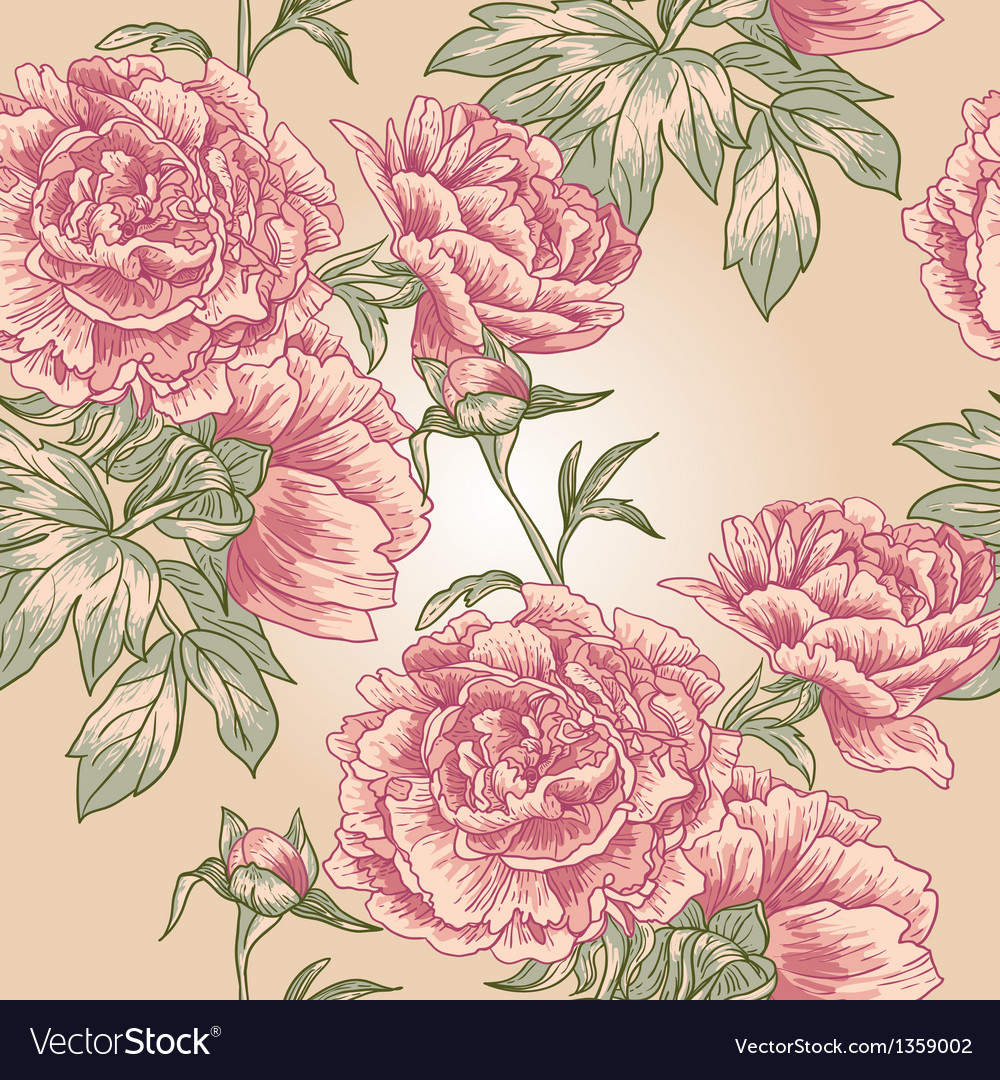 Elegance seamless peony pattern vector | Price: 1 Credit (USD $1)