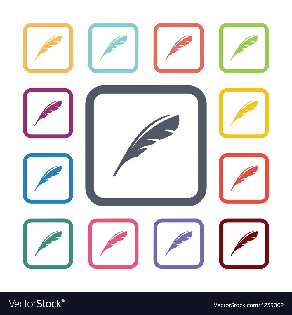Feather flat icons set vector | Price: 1 Credit (USD $1)