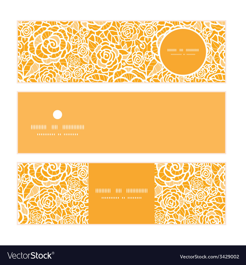 Golden lace roses horizontal banners set pattern vector | Price: 1 Credit (USD $1)