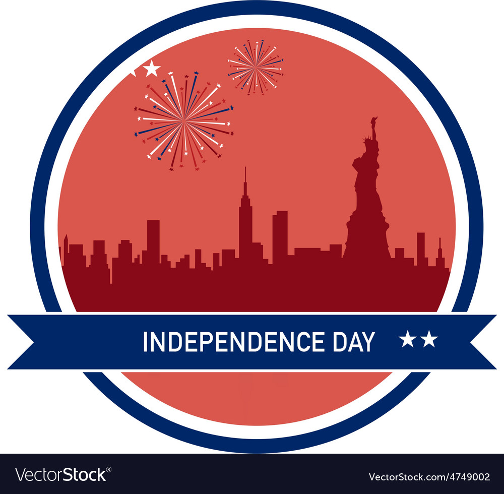 Independence day of america ny city skyline vector | Price: 1 Credit (USD $1)