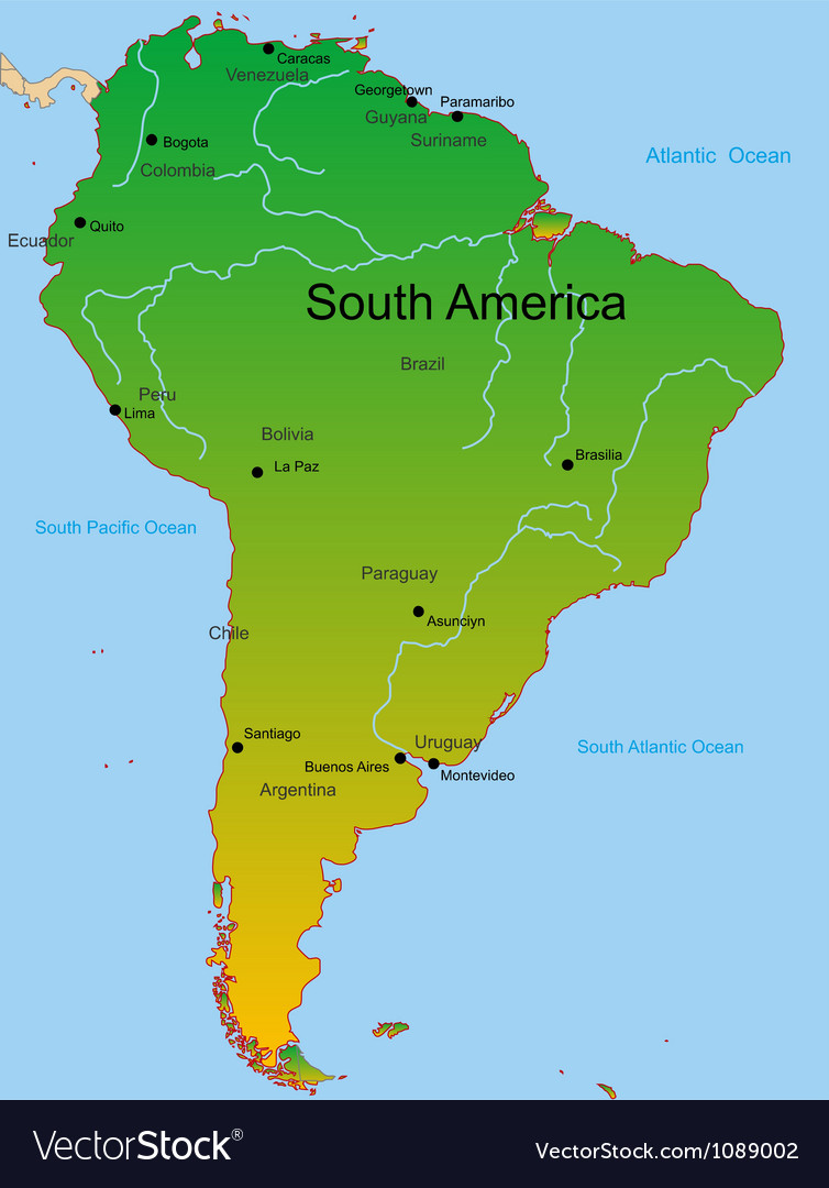 Map of south america continent vector | Price: 1 Credit (USD $1)