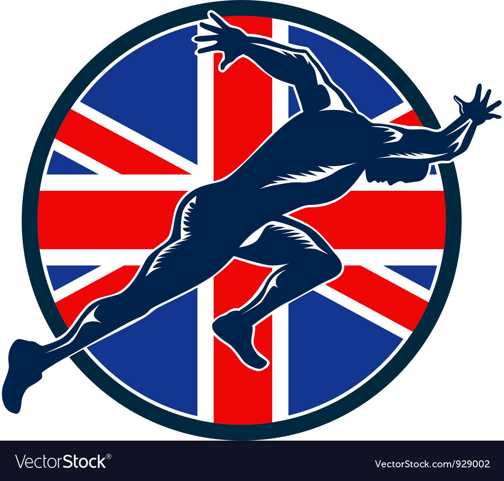 Runner sprinter start british flag circle vector | Price: 1 Credit (USD $1)