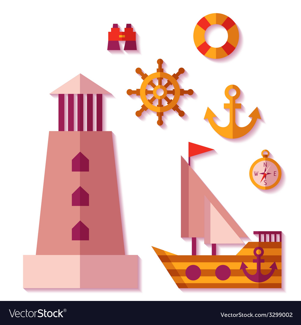 Sea travel icons in flat style vector | Price: 1 Credit (USD $1)