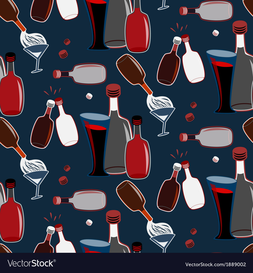 Seamless alco party time pattern vector | Price: 1 Credit (USD $1)
