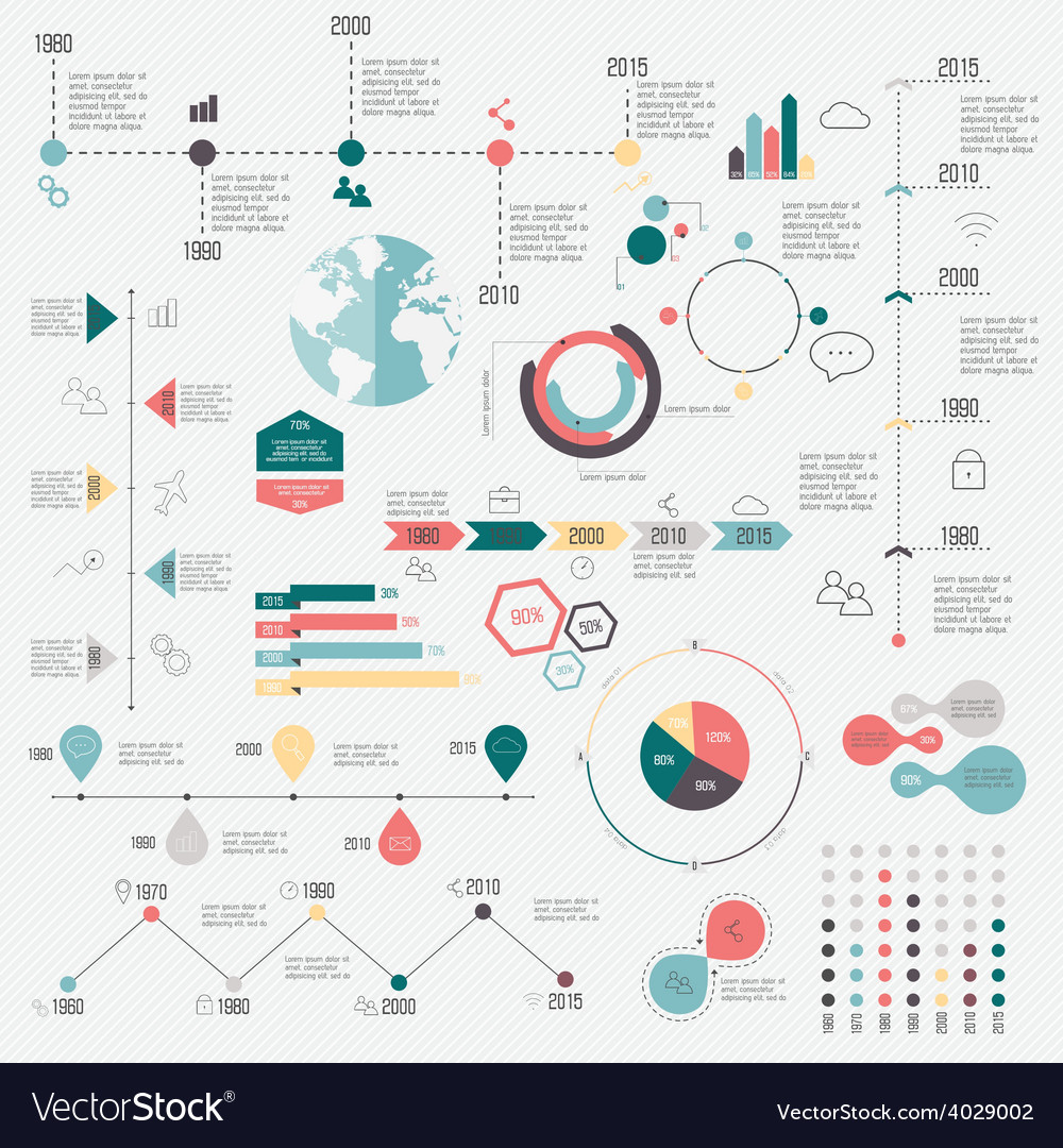 Set of timeline infographic design templates vector | Price: 1 Credit (USD $1)