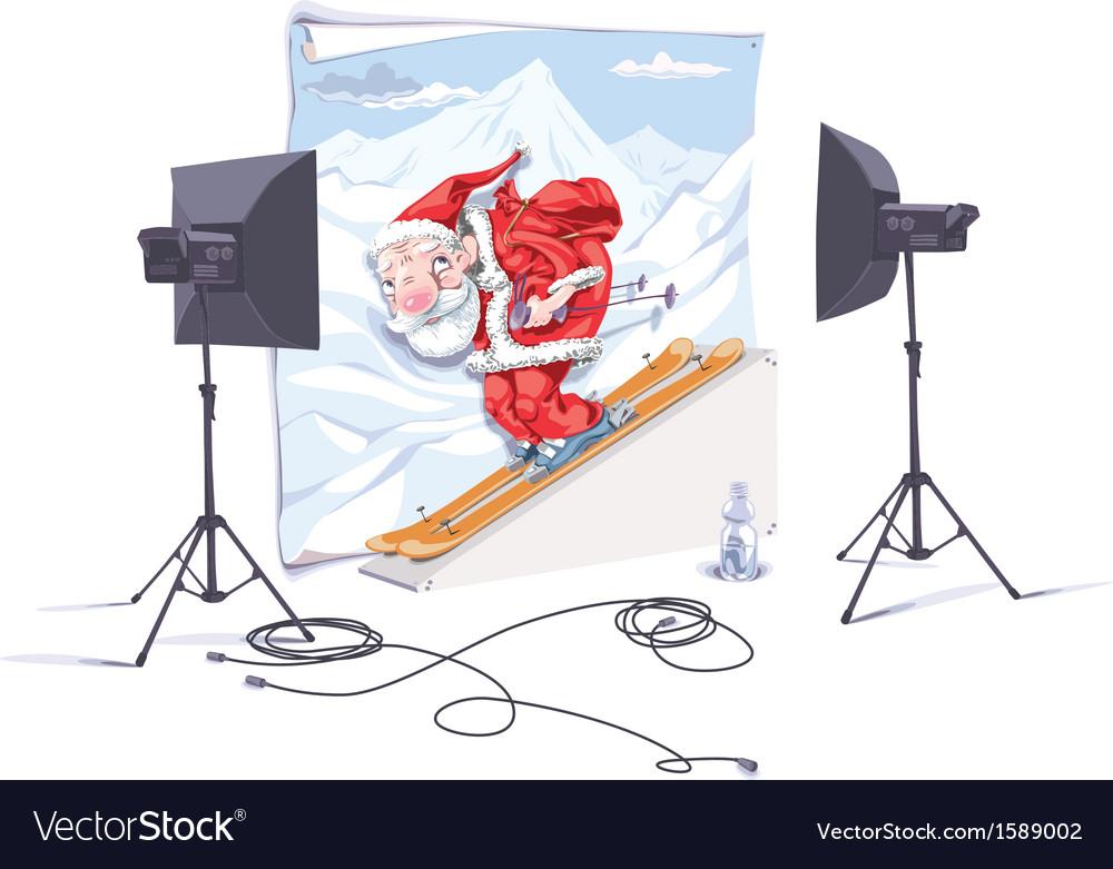 Skiing santa claus vector | Price: 3 Credit (USD $3)