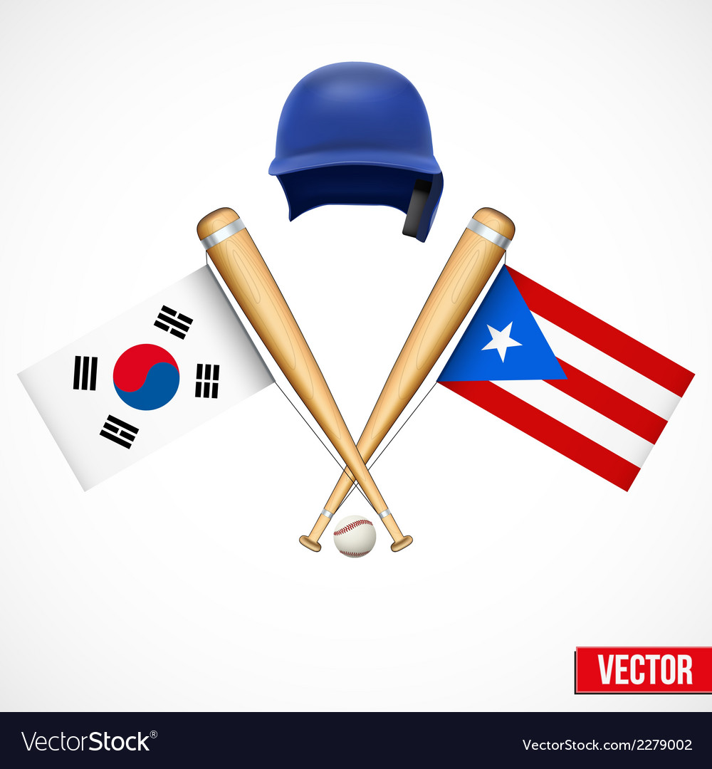 Symbols of baseball team south korea and puerto vector | Price: 1 Credit (USD $1)