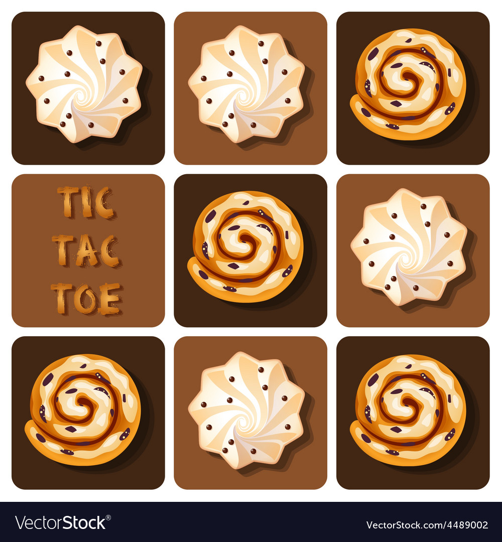 Tic-tac-toe of cinnamon roll and meringue vector | Price: 1 Credit (USD $1)