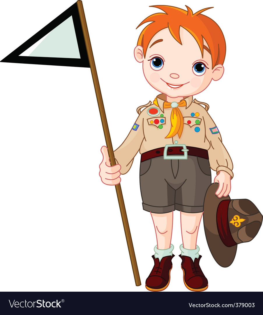 Boy scout holding a flag vector | Price: 3 Credit (USD $3)