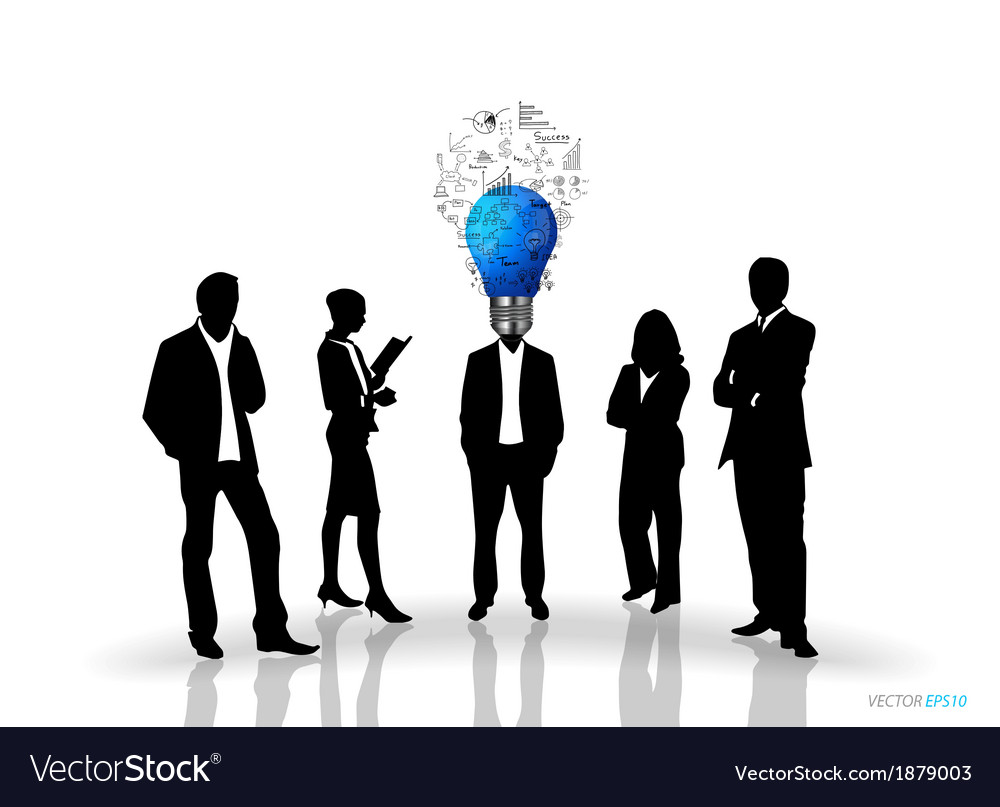 Bulb headed man and business people silhouettes vector | Price: 1 Credit (USD $1)