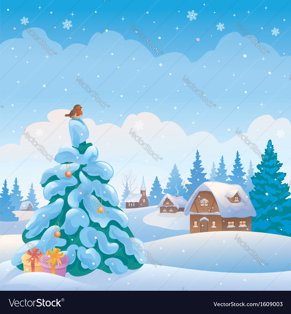 Christmas village vector | Price: 3 Credit (USD $3)