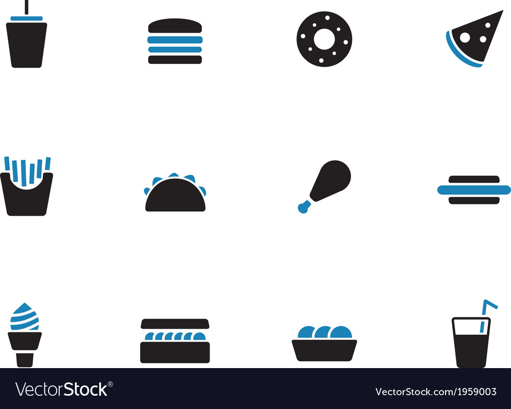 Fast food duotone icons on white background vector | Price: 1 Credit (USD $1)