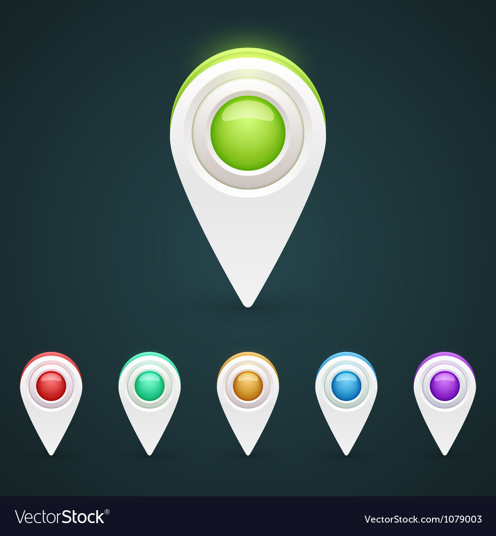 Gps color map icons vector | Price: 1 Credit (USD $1)
