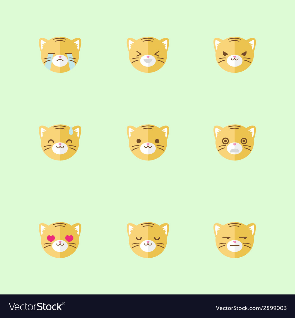 Minimalistic flat tiger emotions icon set vector | Price: 1 Credit (USD $1)