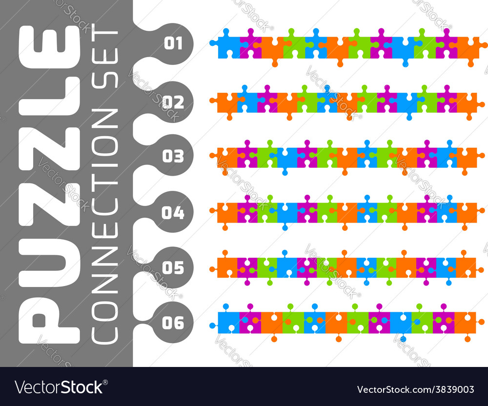 Puzzle connection set vector