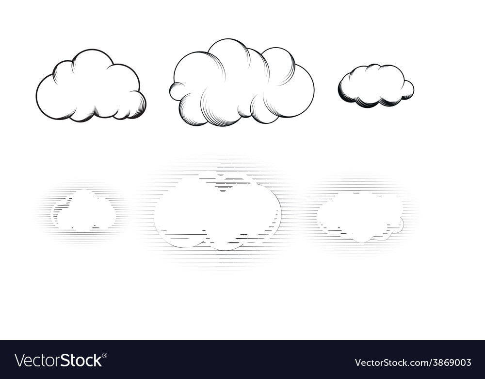 Set of six retro drawn engraving clouds isolated vector | Price: 1 Credit (USD $1)
