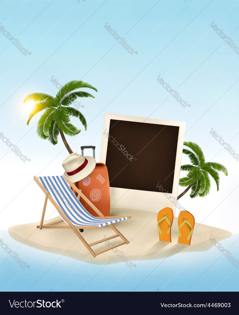 Travel background with beach chair and photo vector | Price: 3 Credit (USD $3)