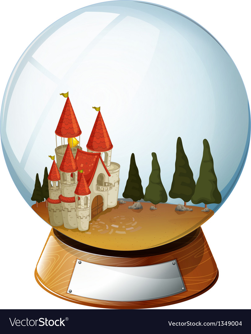 A castle with pine trees inside a dome vector | Price: 1 Credit (USD $1)