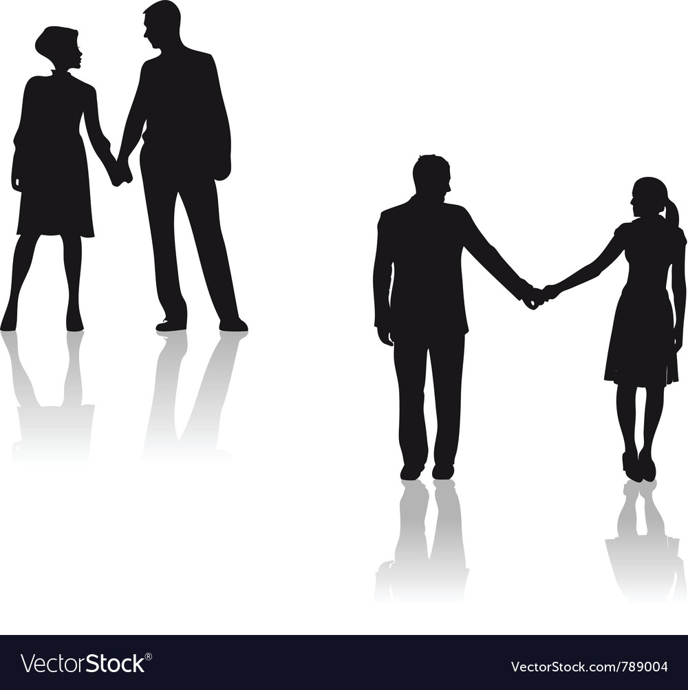 Couples holding hands silhouette vector | Price: 1 Credit (USD $1)