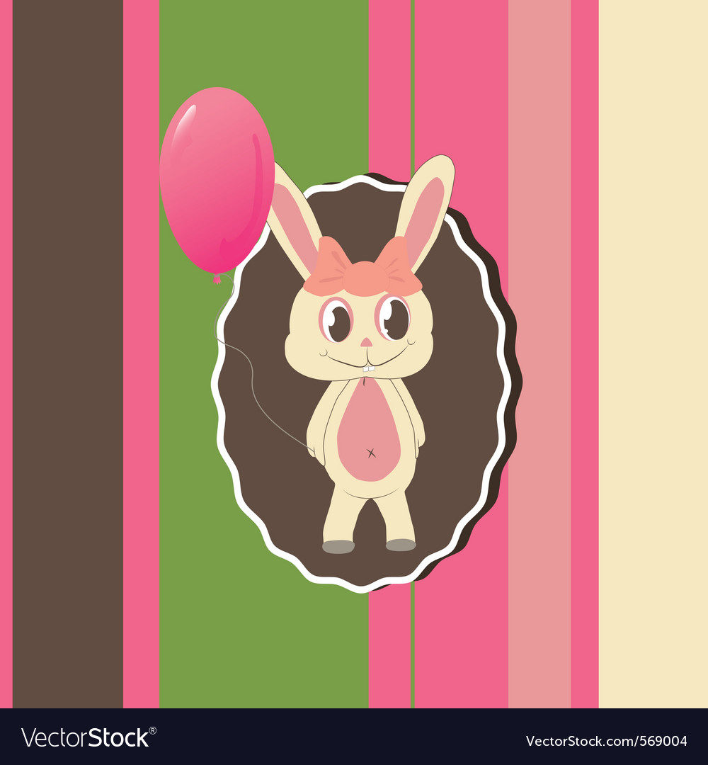 Greeting card with cute bunny vector | Price: 1 Credit (USD $1)