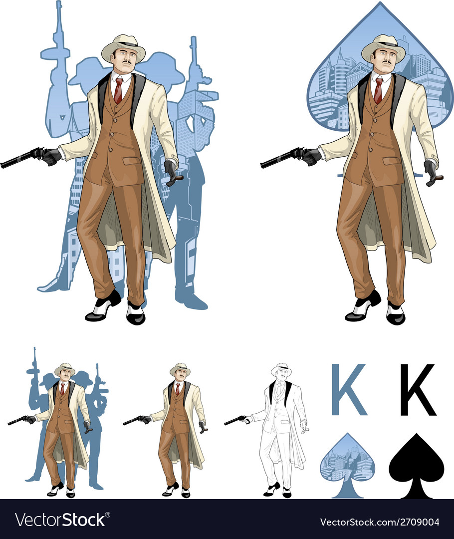 King of spades caucasian mafioso godfather with vector | Price: 1 Credit (USD $1)