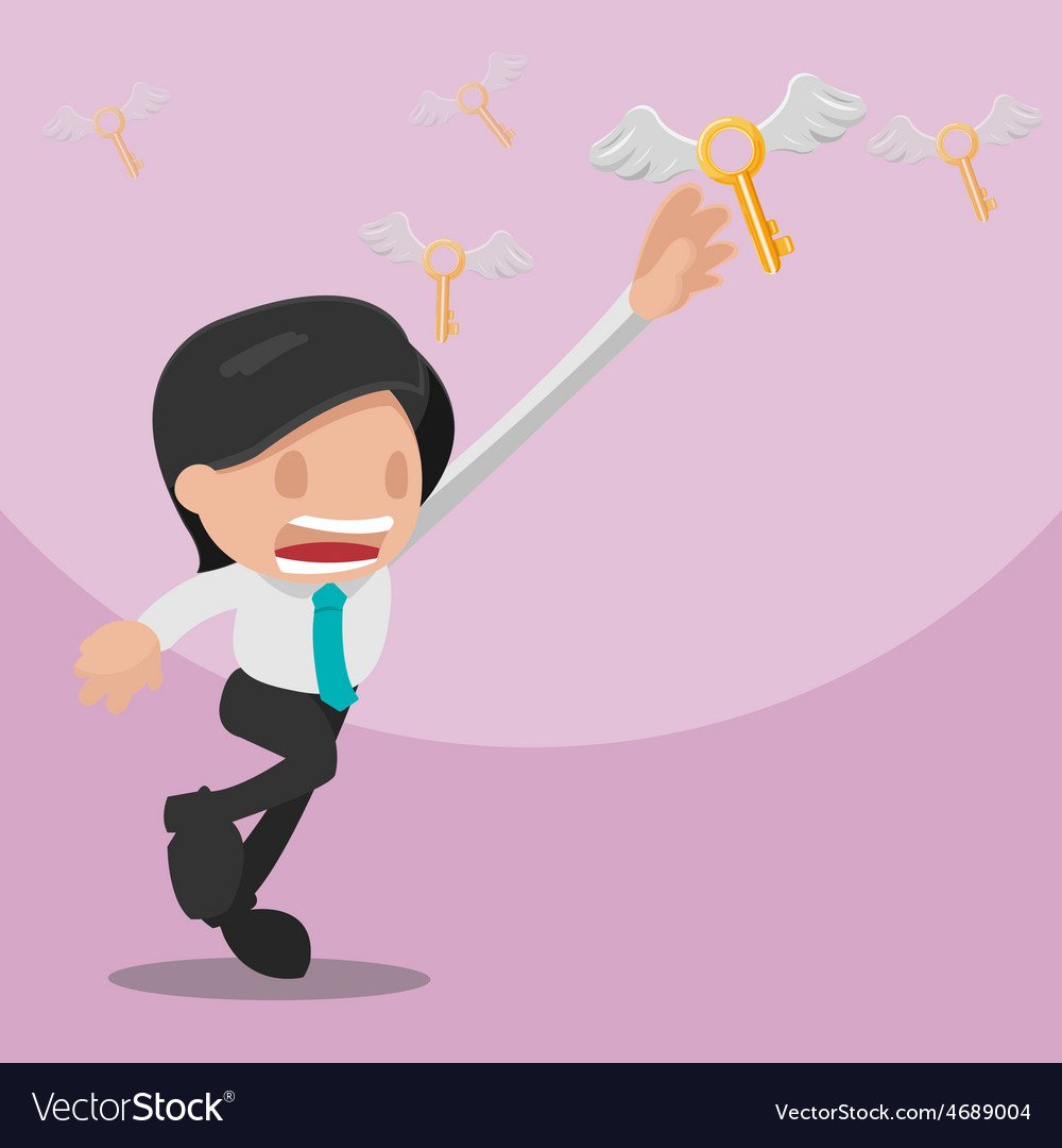 Man worker grab gold key vector | Price: 3 Credit (USD $3)