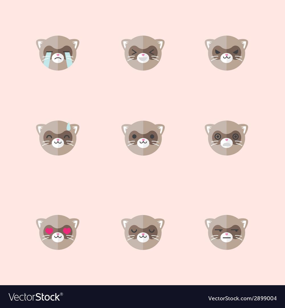 Minimalistic flat ferret emotions icon set vector | Price: 1 Credit (USD $1)